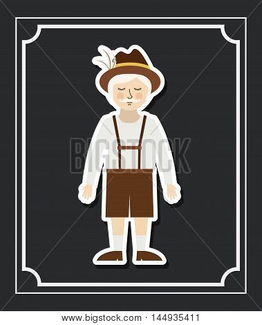 man german germany cartoon avatar cloth traditional oktoberfest icon. Colorful and Flat design. Vector illustration