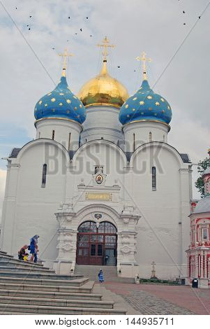 SERGIEV POSAD RUSSIA - AUGUST 24 2016: Trinity Sergius Lavra (monastery). Popular touristic landmark UNESCO World Heritage Site. Color photo.