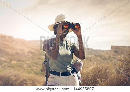 Explorer admiring the panorama