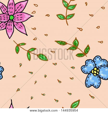 Seamless floral pattern in cartoon style. Foliage