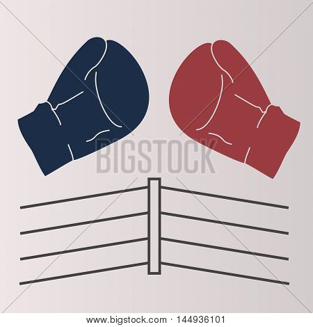 Vector illustration of logo,boxing,red,blue glove,the ring ropes.Isolated figure,two sports equipment,protect the hands of the athlete,gray background.Icon for competitions, matches, sports games