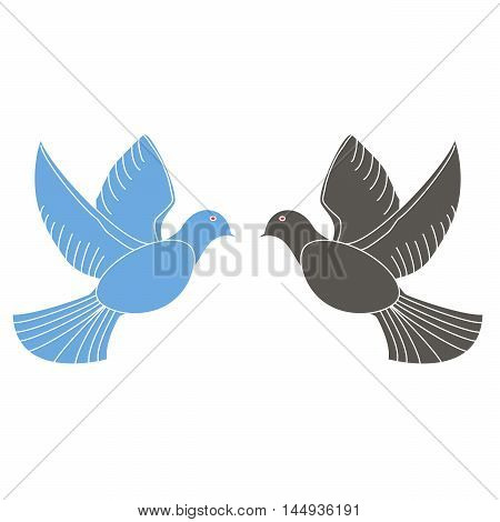Vector illustration of logo,blue, black, doves of peace. Isolated illustration, the two winged bird, on a white background. An icon for goodness, peace, love, reconciliation, wisdom, power, motherhood