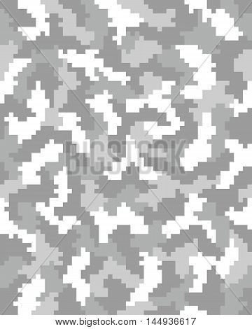 Seamless grey digital fashion camouflage pattern, vector illustration