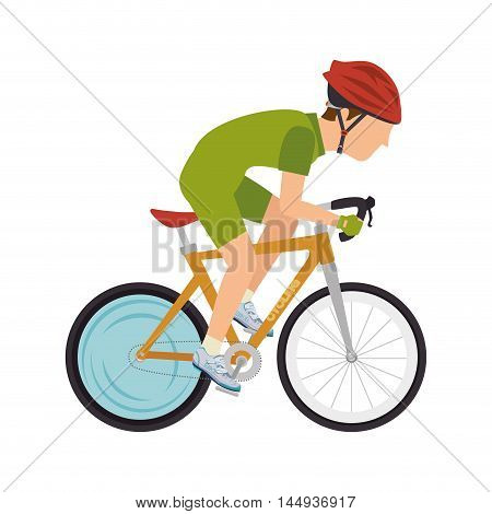 cyclist man riding sport bicycle exercise training with protection equipment vector illustration