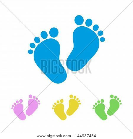 Set of the baby footprints - vector illustration. Simple footprints of baby on white background. Presented in four color variants.