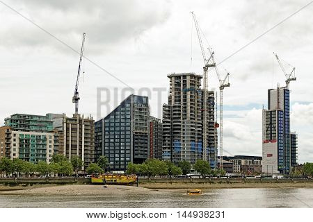 LONDON ENGLAND - JULY 8 2016: Riverbank Park Plaza Hotel and the new skyscraper Corniche at Albert Embankment part of the