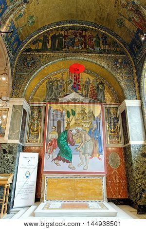LONDON ENGLAND - JULY 8 2016: The Chapel of St Gregory and St Augustine in Westminster Cathedral. The mosaic decoration depicts the historical evangelisation of England directly from Rome.