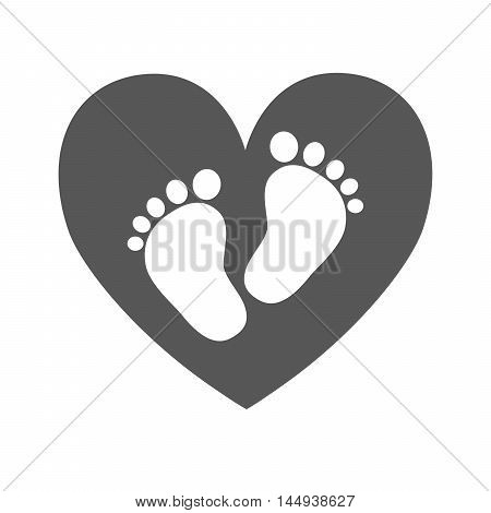 Simple baby footprints - vector illustration. White footprints of baby inside of the black heart.