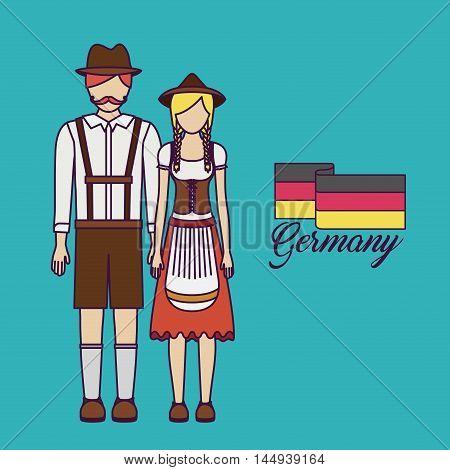 man woman german germany cartoon avatar cloth traditional oktoberfest icon. Colorful and Flat design. Vector illustration