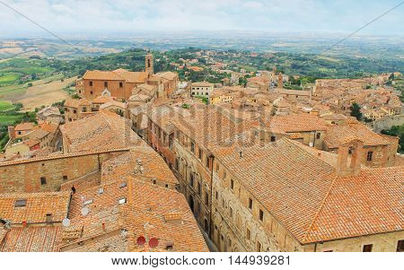 the Old town Montepulciano in Tuscany Italy