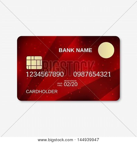 Bank card, credit card design template. Abstract dark red vector background