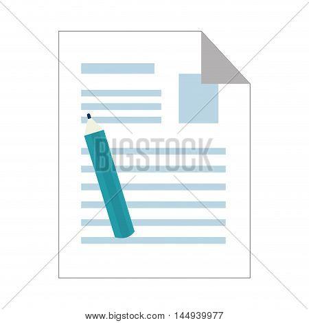 note sheet paper page document copy pen pencil vector illustration
