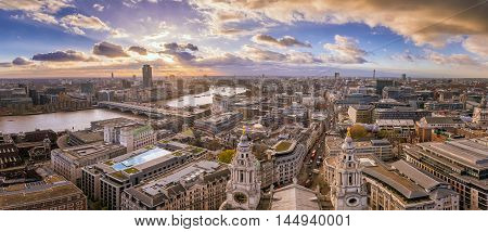 London England - Panoramic Skyline view of central London taken from St.Paul's Cathedral at sunset