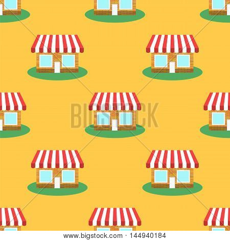 Seamless Smaii Shop Pattern on Yellow. Store Background.