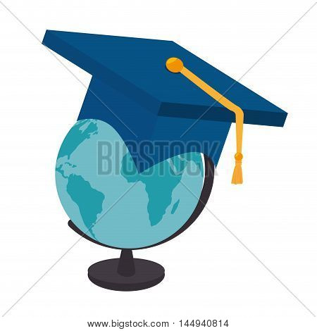 planet earth global education globe countries continent ocean geography graduation cat vector illustration