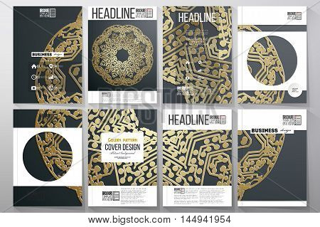 Set of business templates for brochure, flyer or booklet. Golden microchip pattern on dark background with connecting dots and lines, connection structure. Digital scientific vector.