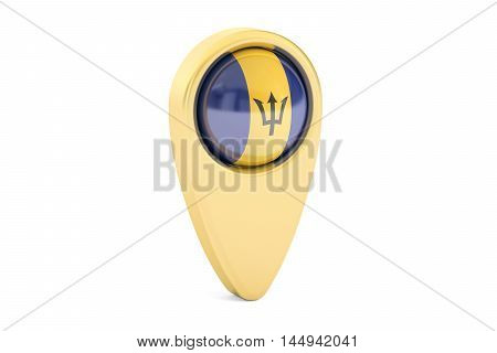 map pointer with flag of Barbados 3D rendering isolated on white background