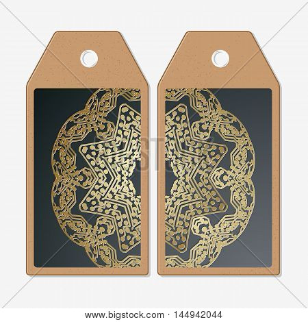 Vector tags design on both sides, cardboard sale labels. Golden microchip pattern on dark background with connecting dots and lines, connection structure. Digital scientific vector