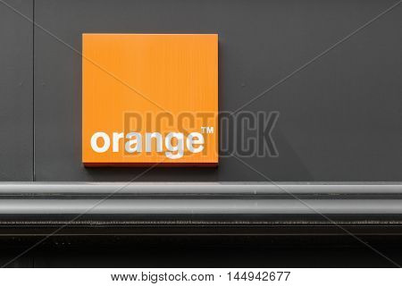 Firminy, France - August 17, 2016: Orange formerly France Telecom, is a French multinational telecommunications corporation. Orange has been the company's main brand for mobile, landline and internet.
