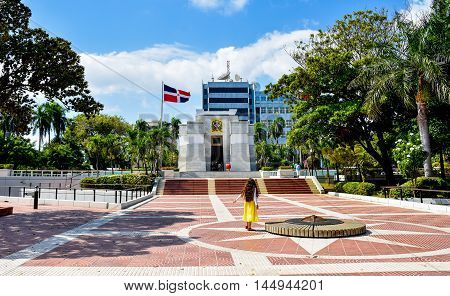 SANTO DOMINGO, DOMINICAN REPUBLIC - Jan 24 2016: Altar de la Patria, The Altar of the Homeland. Houses the remains of the founding fathers of the Dominican Republic: Duarte, Sanchez, Mella.