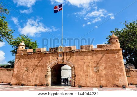 Santo Domingo, Dominican Rep. - Jan 24: Puerta del Conde (The Count's Gate). Entrance of The Altar of the Fatherland, or The Altar of the Homeland. January 24 2016, Santo Domingo, Dominican Republic.