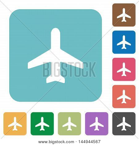 Flat airplane icons on rounded square color backgrounds.