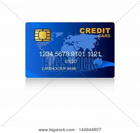 Blue credit card with world map - isolated on white with
