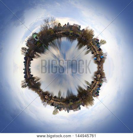 Spherical form landscape. Collage method. Village on the Lake