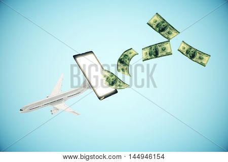 Abstract airplane and dollar bills flying out of cellphone screen on blue background.3D Rendering. Online payment for plane tickets concept