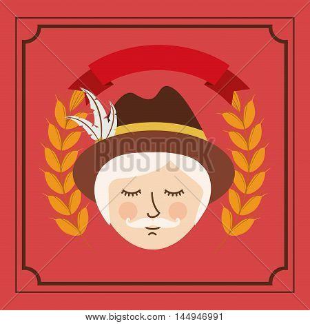 man german germany cartoon avatar cloth traditional oktoberfest icon. Colorful frame and Flat design. Vector illustration