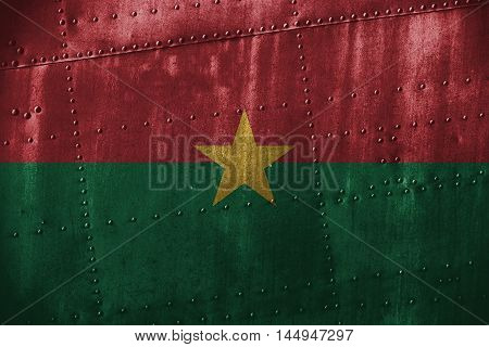 Metal Texutre Or Background With Burkina Faso Flag