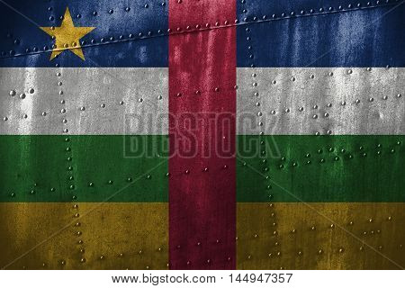 Metal Texutre Or Background With Central African Rep Flag
