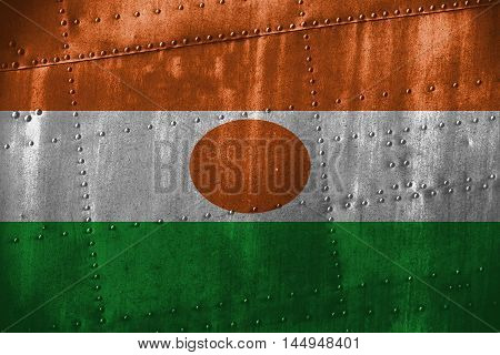 Metal Texutre Or Background With Niger Flag