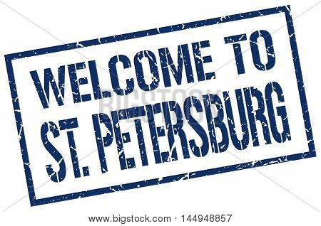 welcome to St. Petersburg. stamp. grunge square sign