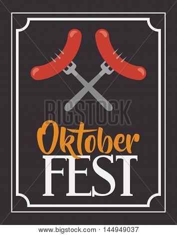 sausage fork frame food meu oktoberfest icon. Colorful and Flat design. Vector illustration