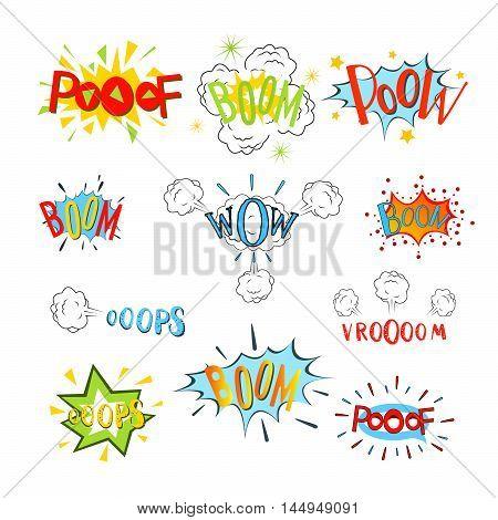 Comic speech bubbles set. Design cartoon graphic communication vector