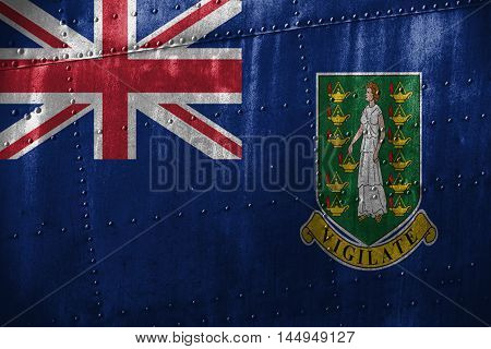 Metal Texutre Or Background With Virgin Islands, Gb Flag