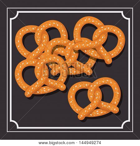 pretzel bread bakery food traditional icon. Colorful frame and Flat design. Vector illustration