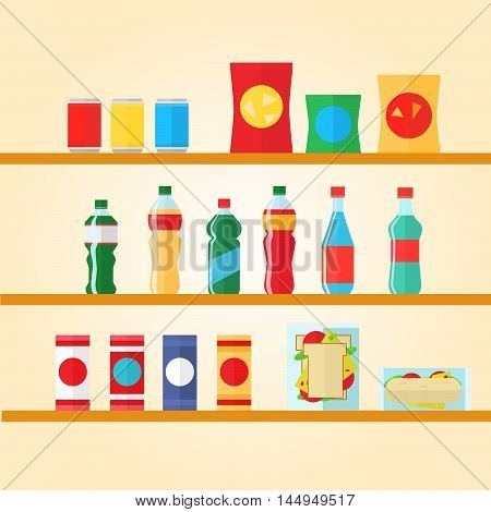 Vending machine product items set. Vector illustration in vector style. Food and drinks design elements and icons isolated on white background.