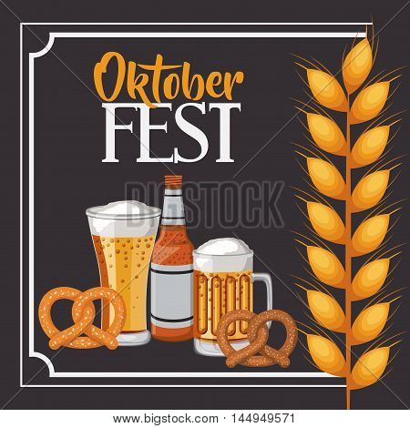 beer pretzel wheat ear frame food meu oktoberfest icon. Colorful and Flat design. Vector illustration