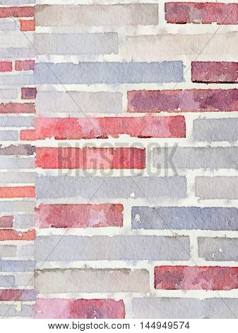 Digital watercolour painting of 2 sizes of brickwork in red grey and beige. Can be used as a background and with space for text.