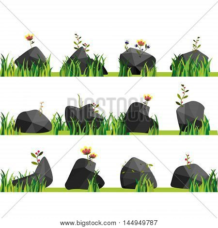 Rocks with grass stones and green grass. Nature rock illustration outdoor environment plant vector.
