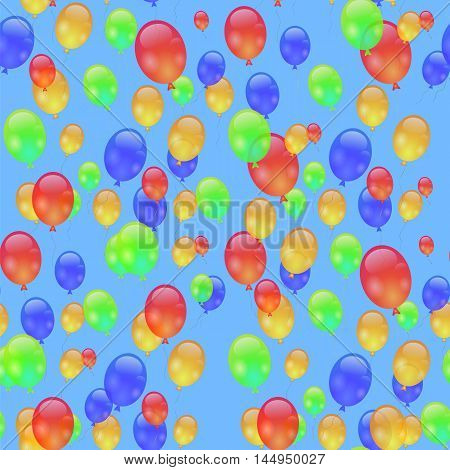 Colorful Air Balloons Seamless Pattern Isolated on Blue.