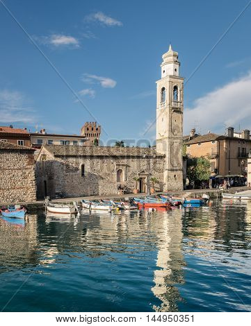 Small romantic port in Lazise at Lake Garda Italy.
