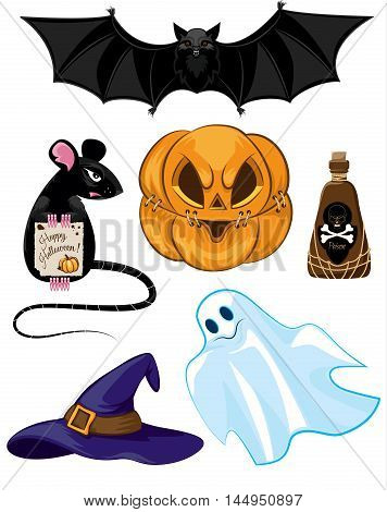 The set of items for Halloween. Mouse bat pumpkin a cap a vial of poison Ghost