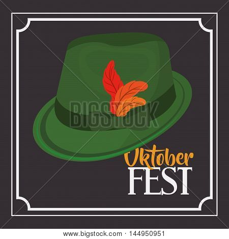 hat green leaf accessory cloth traditional oktoberfest icon. Colorful and Flat design. Vector illustration