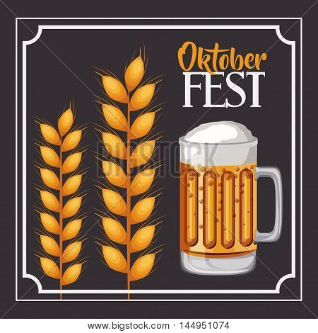 beer frame food meu oktoberfest icon. Colorful and Flat design. Vector illustration