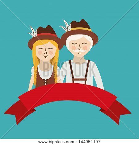 man woman ribbon german germany cartoon avatar cloth traditional oktoberfest icon. Colorful and Flat design. Vector illustration