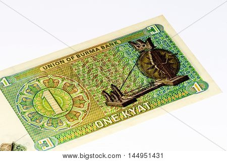 1 kyat bank note of Burma. Kyat is the national currency of Burma