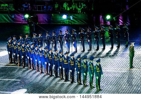 MOSCOW RUSSIA - AUGUST 26 2016: Spasskaya Tower international military music festival. The Demonstration band of the Armed Forces and the Honor Guard of the Republic of Belarus at the Red Square